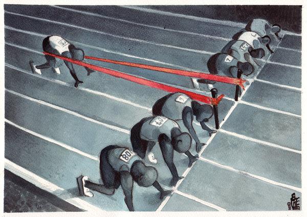 Hardloper met voorsprong door doping